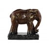 Ceramic Standing Elephant Figurine on Base Glaze Finish Espresso Brown