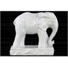 Ceramic Standing Elephant Figurine on Base Matte Finish White