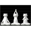 Ceramic Frogs Figurine in Assorted Yoga Positions Assortment of Three Gloss Finish White
