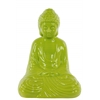 Ceramic Meditating Buddha Figurine with Rounded Ushnisha in Dhyana Mudra Gloss Finish Yellow Green