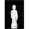 Ceramic Standing Buddha Figurine in Varada Mudra with Short Ushnisha on Double Lotus Base SM Distressed Gloss Finish White