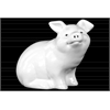 Ceramic Sitting Pig Figurine with Printed Eyes and Nostrils Gloss Finish White