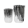 Porcelain Tapered Round Flower Vase Set of Two Corrugated Polished Chrome Finish Silver