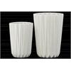 Porcelain Tapered Round Flower Vase Set of Two Corrugated Gloss Finish White
