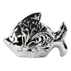 Ceramic Fish Figurine with Embossed Swirl Design Polished Chrome Finish Silver