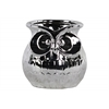 Ceramic Owl Flower Pot Polished Chrome Finish Silver