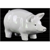 Ceramic Standing Pig Figurine with Printed Eyes and Nostrils Gloss Finish White