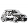 Ceramic Decorative 2001 Mini Cooper R50 Car Miniature Replica Sculpture Polished Chrome Finish Silver