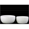 Ceramic Round Pot Set of Two Dimpled Gloss Finish White