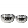 Ceramic Round Pot Set of Two Dimpled Polished Chrome Finish Silver