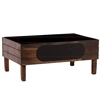 Wood Rectangular Crate with Black Stadium Shaped Label and 4 Legs LG Stained Wood Finish Brown