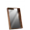 Wood Rectangular Wall Mirror with Protruding Frame MD Varnished Wood Finish Brown