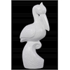 Ceramic Crouching Pelican Figurine on Wave Stand Gloss Finish White