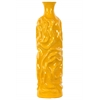Ceramic Round Bottle Vase with Short Neck LG Wrinkled Gloss Finish Amber