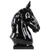 Ceramic Horse Bust on Base Gloss Finish Black