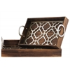 Wood Nesting Tray with Metal 2 Handles and Quatrefoil Latice Surface Set of Two Natural Finish Brown