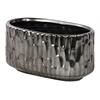 Ceramic Stadium Shaped Vase with Embossed Hexagonal Design Matte Finish Black Chrome Silver