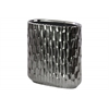 Ceramic Tall Stadium Shaped Vase with Embossed Hexagonal Design Matte Finish Black Chrome Silver