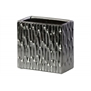 Ceramic Rectangular Vase with Embossed Hexagonal Design Matte Finish Black Chrome Silver
