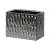 Ceramic Wide Rectangular Vase with Embossed Hexagonal Design Matte Finish Black Chrome Silver