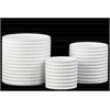 Ceramic Round Flower Pot Set of Three Dimpled Gloss Finish White