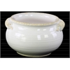 Ceramic Wide Round Bellied Tuscan Pot with Handles LG Distressed Gloss Finish White