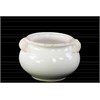 Ceramic Wide Round Bellied Tuscan Pot with Handles SM Distressed Gloss Finish White