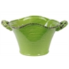 Ceramic Stadium Shaped Tapered Tuscan Pot with Handles LG Craquelure Distressed Gloss Finish Yellow Green