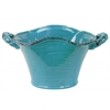 Ceramic Stadium Shaped Tapered Tuscan Pot with Handles LG Craquelure Distressed Gloss Finish Biscay Bay Blue