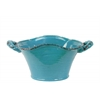 Ceramic Stadium Shaped Tapered Tuscan Pot with Handles SM Craquelure Distressed Gloss Finish Biscay Bay Blue