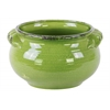 Ceramic Wide Round Bellied Tuscan Pot with Handles LG Craquelure Distressed Gloss Finish Yellow Green