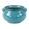 Ceramic Wide Round Bellied Tuscan Pot with Handles LG Craquelure Distressed Gloss Finish Biscay Bay Blue