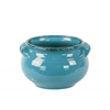 Ceramic Wide Round Bellied Tuscan Pot with Handles SM Craquelure Distressed Gloss Finish Biscay Bay Blue