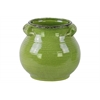 Ceramic Tall Round Bellied Tuscan Pot with Handles LG Craquelure Distressed Gloss Finish Yellow Green