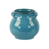 Ceramic Tall Round Bellied Tuscan Pot with Handles LG Craquelure Distressed Gloss Finish Biscay Bay Blue