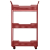 Metal Rectangular Utility Cart with Perforated Design, 3 Tiers, 2 Handles and 4 Cers Coated Finish Red