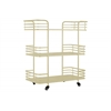 Metal Rectangular Utility Cart with Modern Rail Design, 3 Tiers, 2 Handles and 4 Cers Coated Finish Cream