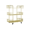 Metal Utility Cart with Modern Rail Design, 3 Tiers, 2 Handles and 4 Cers Coated Finish Champagne