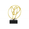 Iron Abstract Swirl Tabletop Decor with Rectangular Base Coated Finish Gold