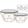 Metal Octagonal Coffee Table with Glass Top and Lattice Design Body Set of Two Metallic Finish Champagne
