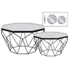 Metal Octagonal Coffee Table with Glass Top and Lattice Design Body Set of Two Metallic Finish Black