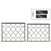 Metal Rectangular Nesting Console Table with Glas Top and Circle Lattice Design Body Set of Two Metallic Finish Champagne