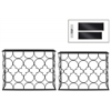 Metal Rectangular Nesting Console Table with Glas Top and Circle Lattice Design Body Set of Two Metallic Finish Black