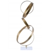 Metal Cascading Interlooping Hoops Sculpture on Square Acrylic Base Metallic Finish Gold