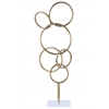 Metal Cascading Interlooping Circles Sculpture on Square Acrylic Base Metallic Finish Gold