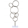 Metal Cascading Interlooping Circles Sculpture on Square Acrylic Base Metallic Finish Silver