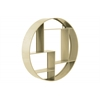 Metal Round Wall Shelf with 7 Slots and 2 Keyhole Hangers Coated Finish Champagne