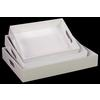 Wood Rectangular Serving Tray with Cutout Handles Set of Three Coated Finish White