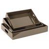 Wood Rectangular Serving Tray with Cutout Handles Set of Three Coated Finish Taupe