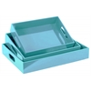 Wood Rectangular Serving Tray with Cutout Handles Set of Three Coated Finish Light Blue